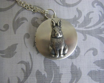 Silver Bunny Locket,  Rabbit Necklace,I love you to the moon and back, jewlery with quote