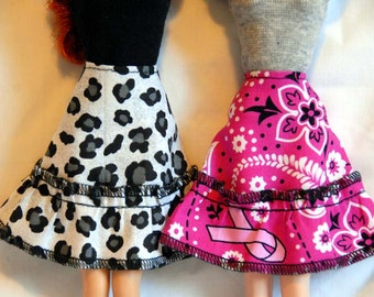 Barbie Clothes Tailor Made by Tunafairy - A Flared Skirt w/ Ruffled Trim in a Choice of Prints for Barbie or Similar Doll