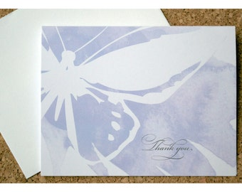 Watercolor Butterfly Thank you Note Set