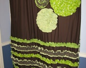 Shower Curtain Custom Made Designer Fabric Ruffles and Flowers  Chocolate Brown Lime Green White Cream Dandelion Dots Stripes