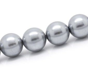 Silver Glass Pearl Round Beads 16mm 1/2 Strand apx 25pcs - Ships Immediately from California - B848a