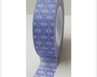 Washi Tape Blue Star Abstract - 15mmx10m - 1 Roll - Ships IMMEDIATELY from California - TP07