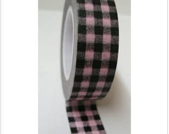 Washi Tape - Pink and Black Checkerboard - 15mmx10m - 1 Roll - Ships IMMEDIATELY from California - TP239