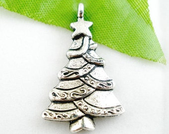 5 Silver Christmas Tree Charms - Antique - 29x17mm - Ships IMMEDIATELY from California - SC779