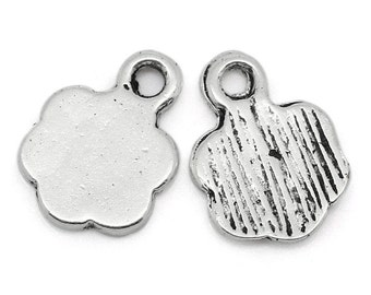 Flower Charms Silver Stamping Tag Antique - 10x8mm - 25pcs - Ships IMMEDIATELY from California - SC921