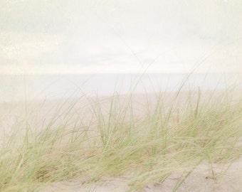 White Coastal Decor, Seashore Photograph, Pale Beach Photography, Faded Ocean Picture, Sea Grass Wall Art