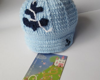 Nautical Baby Boy Hat, Sailor Boy Hat, Baby Sailor Cap Hat, Anchor Newsboy Hat Sailor Crochet Hat Boys Nautical Crochet