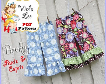 Ruffled Pants Pattern, 1 or 2 Ruffles, Ruffled Capris Pattern. Girl's Sewing Pattern. INSTANT DOWNLOAD. Toddler Pattern, Girls Pattern