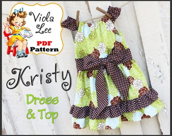 Kristy... Girl's Peasant Dress & Top Pattern. Toddler Dress Pattern. Girl's Dress Pattern. Girl's pdf Sewing Pattern. Summer Dress pattern.