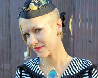 Little Dapper Mini Sailor Hat with shiny Asian print Fabric