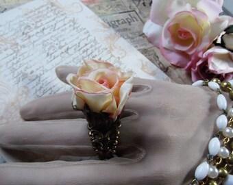 Blush Ivory Silk Rose & Chocolate OX Adjustable Ring in Tulip Bead Cap