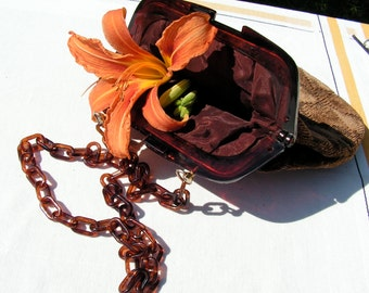 60s Reghi Brown Velvet Purse MOD Tiger Plastic Link Strap ITALY Handbag