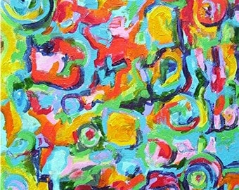 """Abstract  Expressions -  FREE SHIPPING - Certificate of Authenticity - 12"""" x 16""""  Vibrant modern  Original Acrylic Painting by Ricky Martin"""