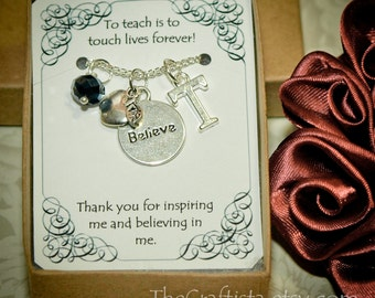 Personalized Teacher Necklace With Birthstone and Initial -T-05- Personalized Teacher's Gift -- Teacher Appreciation Gift -- Christmas Gift