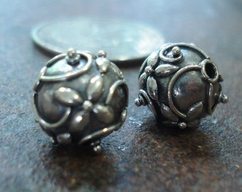 Sterling Silver Bali Ornate Floral Round Beads, Oxidized, 11 mm, pkg of 2