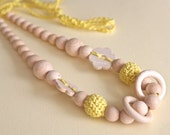 Yellow flower nursing rings necklace. Girls crochet necklace. Mammy and baby teething necklace.