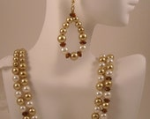 Double Strand Glass Pearls Crystal Rondelle Beaded Necklace and Teardrop Earrings Set