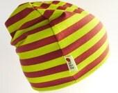 Beanie Hat - Lime & Maroon Stripes - Marimekko Jersey