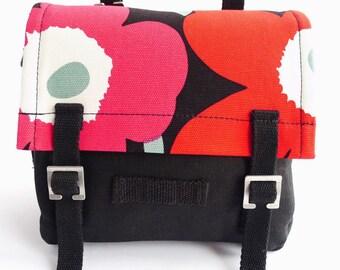 Handbag Marimekko - Poppy Unikko - Black Red Pink Flowers
