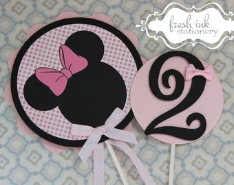 2 piece Light Pink Minnie Mouse Centerpiece or Cake Top