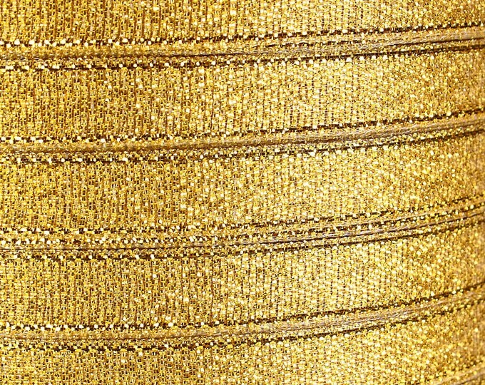 10mm Sparkle gold ribbon - 10mm Gold organza ribbon - 3/8 Inch Sparkle ribbon - 25 yards - 75 feet (R018) - Flat rate shipping