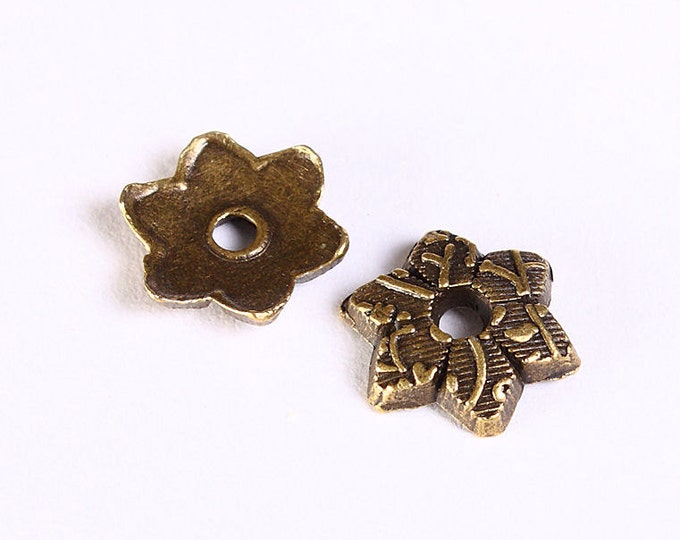 10mm antique brass flower bead caps - Antique brass star beadcaps - textured beadcap - Cadmium free (1199) - Flat rate shipping