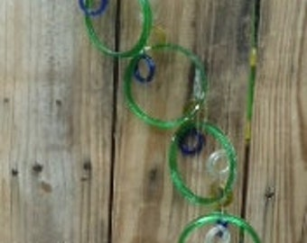 GLASS WINDCHIMES from RECYCLED bottles, eco friendly, green clear blue mix, garden decor, wind chimes, mobiles, musical, windchimes