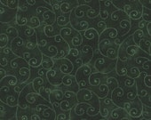 Green Floral Fabric, Marble Swirls by Moda Fabrics, Hunter Green, Green Fabric, 01728