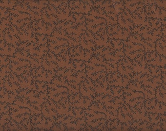 Brown Floral Fabric, Chocolate Brown Floral Vine Fabric, Brown Fabric, 1 yard fabric