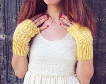 Yellow Womens Gloves, Knit Fingerless Gloves, Ladies Wrist Warmers, Fashion Accessories, Crochet Texting Gloves, Etsy Gifts, Yellow Gloves