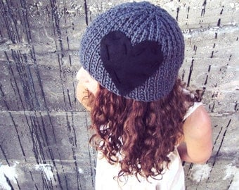 Knitted Heart Hat Womens Beanie Crochet Cap Black Gray Ladies Knit Grey