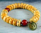 Yoga Jewelry, Mala Bracelet, Mens Beaded Bracelet, Womans, Meditation, Eye of Protection, Bone Mala, Reiki Jewelry, Wrist Mala Om Charm
