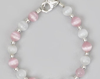 Pink and White  Baby Bracelet  (bctp)