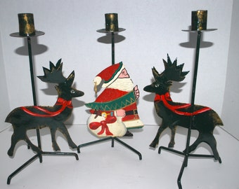Christmas  candle sticks a set of  3 metal candle holders    reindeer  candle holders  Santa Claus candle holder