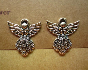 20pcs 26x23mm antique silver angel charms pendant C4133