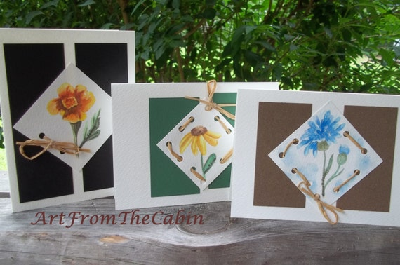 RESERVED for LEKirkendall - Blank All Occasion Note Cards - Set of 3 Cards - Floral Cards - Watercolor Cards