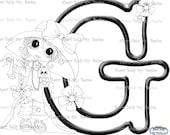 INSTANT DOWNLOAD Digital Digi Stamps Big Eye Big Head Dolls Digi  My Besties Alphabet Letter G  By Sherri Baldy