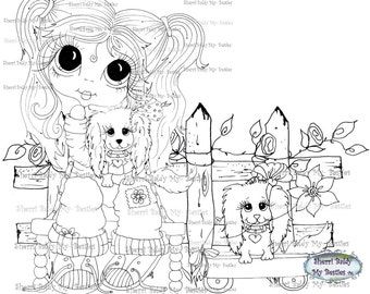INSTANT DOWNLOAD Digi Stamps Big Eye Big Head Dolls Digi Bestie Pet Pals One By Sherri Baldy