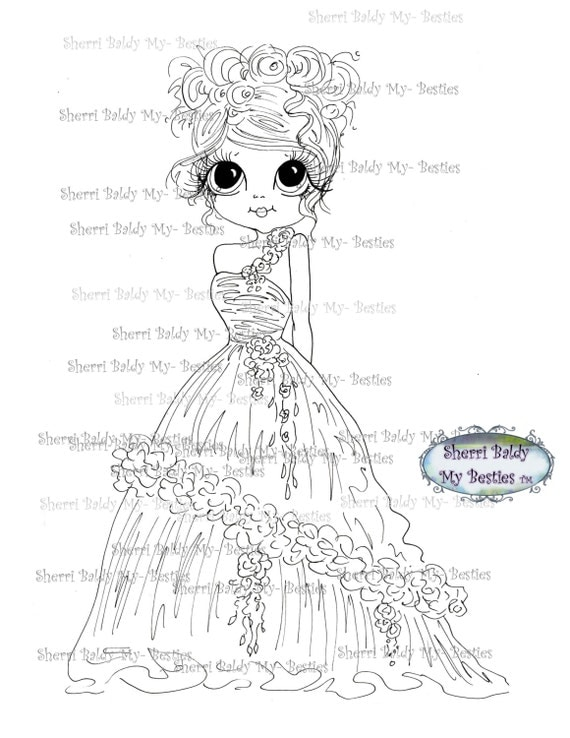 INSTANT DOWNLOAD Digital Digi Stamps Big Eye Big Head Dolls Digi My Besties The Bride By Sherri Baldy