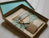 Rustic Wedding Invitations: Unique Boxed Lace and Twine Invites. Rustic Wedding. Shabby Chic Wedding. Lace Fabric. Lace Trim.