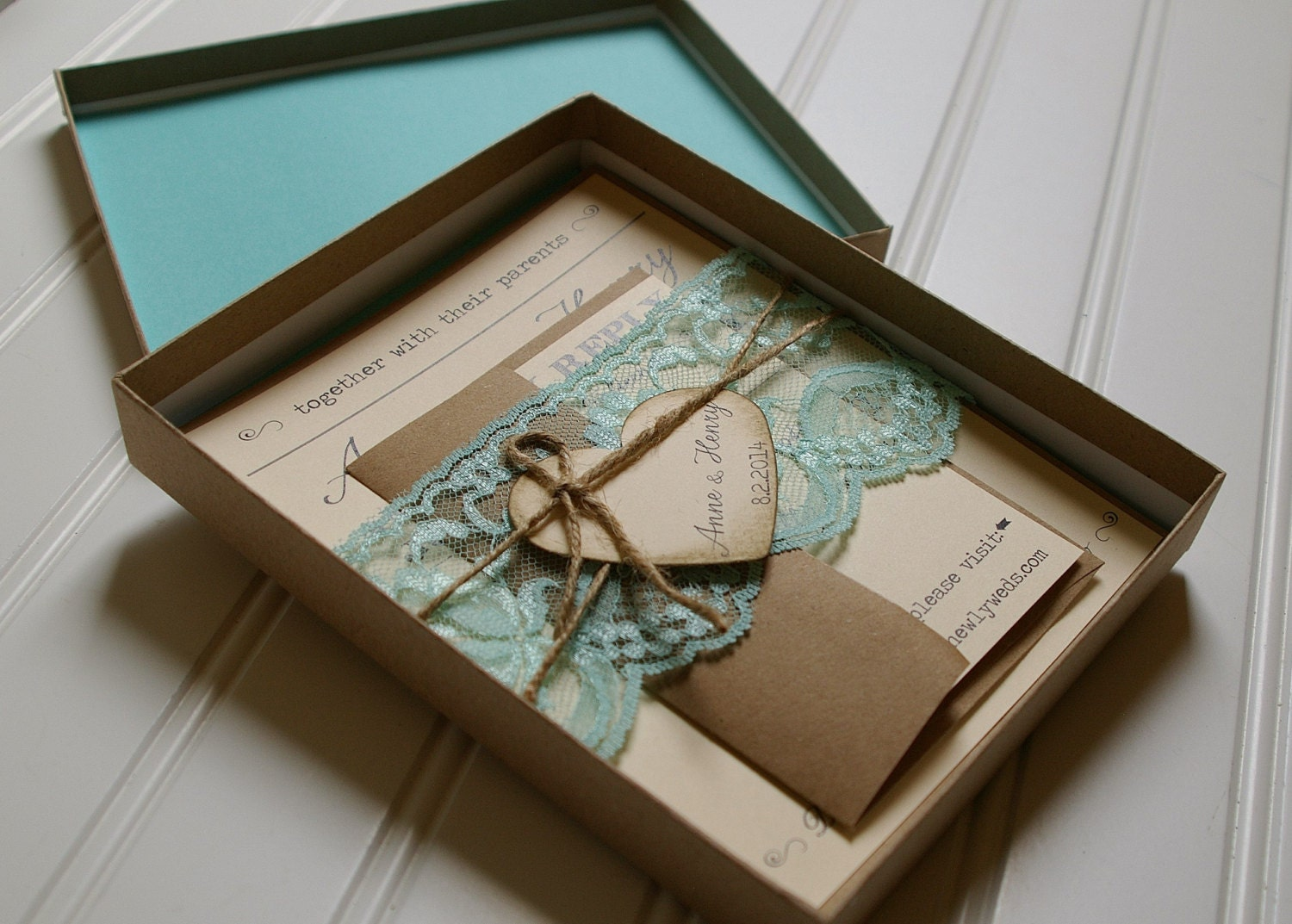 Unique Wedding Invites: Rustic Wedding Invitations: Unique Boxed Lace And Twine