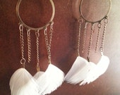 White and Bronze Chandelier Earrings