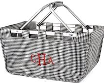 Houndstooth Market Basket - Personalized