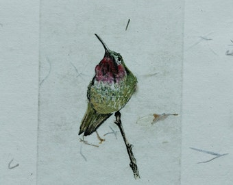 Etched hummingbirds in different poses to choose from