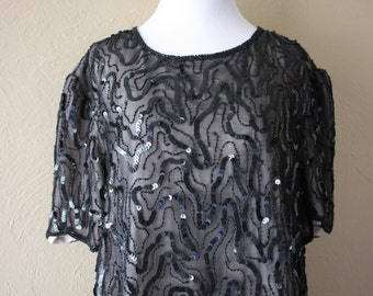 Vintage Beaded and Sequined Blouse