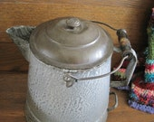 Vintage Large Camp Coffee Pot - Grey Granite Ware