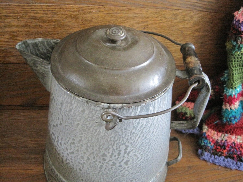 Vintage Large Camp Coffee Pot Grey Granite Ware By