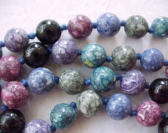 Pretty Vintage Necklace of Jasper Beads in Blues, Purples and Greens