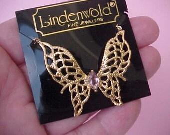 Charming Vintage 14K Gold Filled Butterfly Necklace Still in Original Lindenwold Box