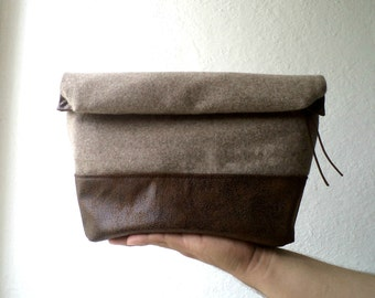 Toiletry bag, roll-up men bag,shaving bag,groomsman gift, dopp kit,Faux suede and capuccino wool.Mens. Husband gift. Dad gift.groomsmen gift